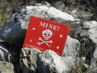 Danger mine! Hum Hill, Mostar, Bosnia